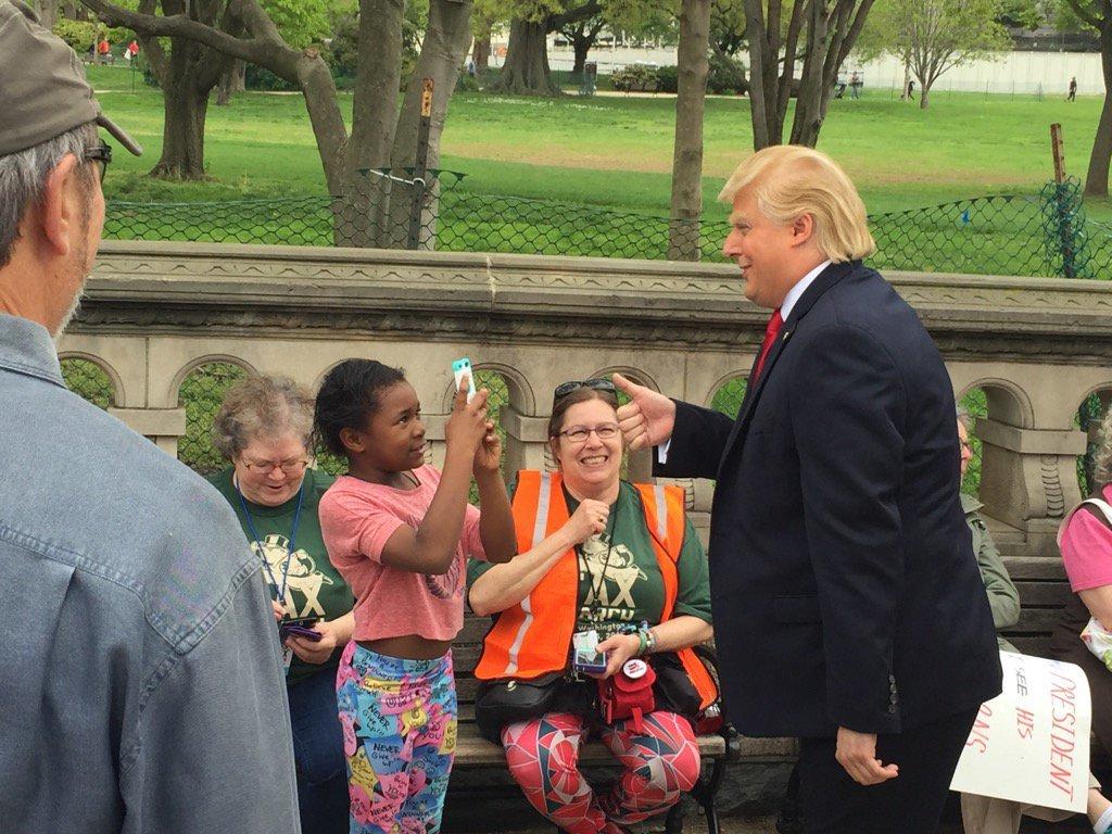 A President Trump impersonator at Saturday's Tax Day march. (WTOP/John Domen)