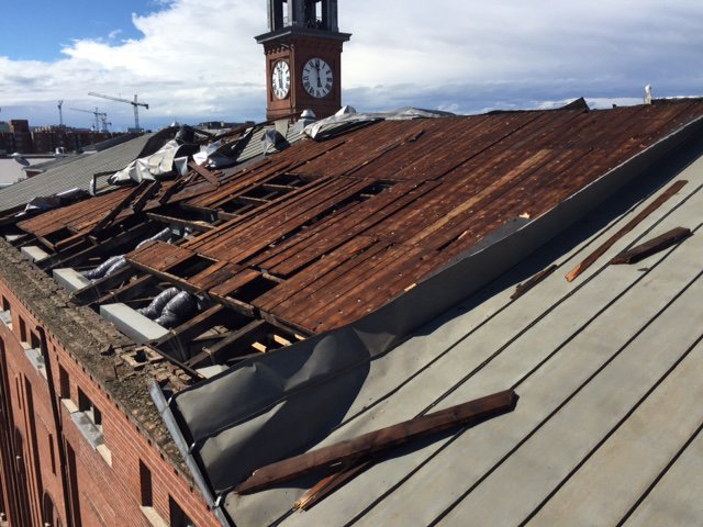 The damaged roof of St. Aloysius Church. (Courtesy DC Fire and EMS)