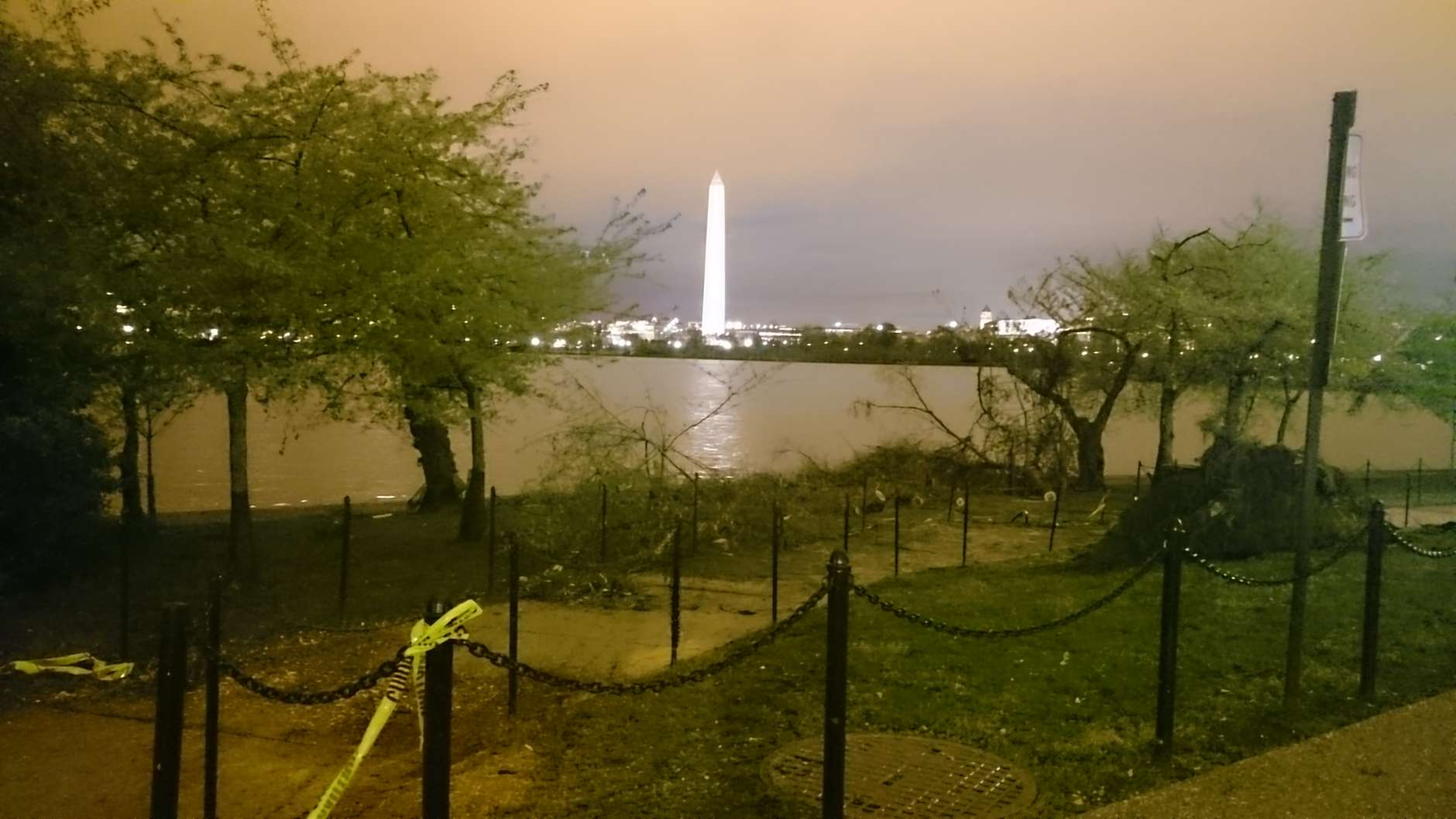 Cleanup remains underway at the Tidal Basin following Thursday's fierce weather. (WTOP/Dennis Foley)