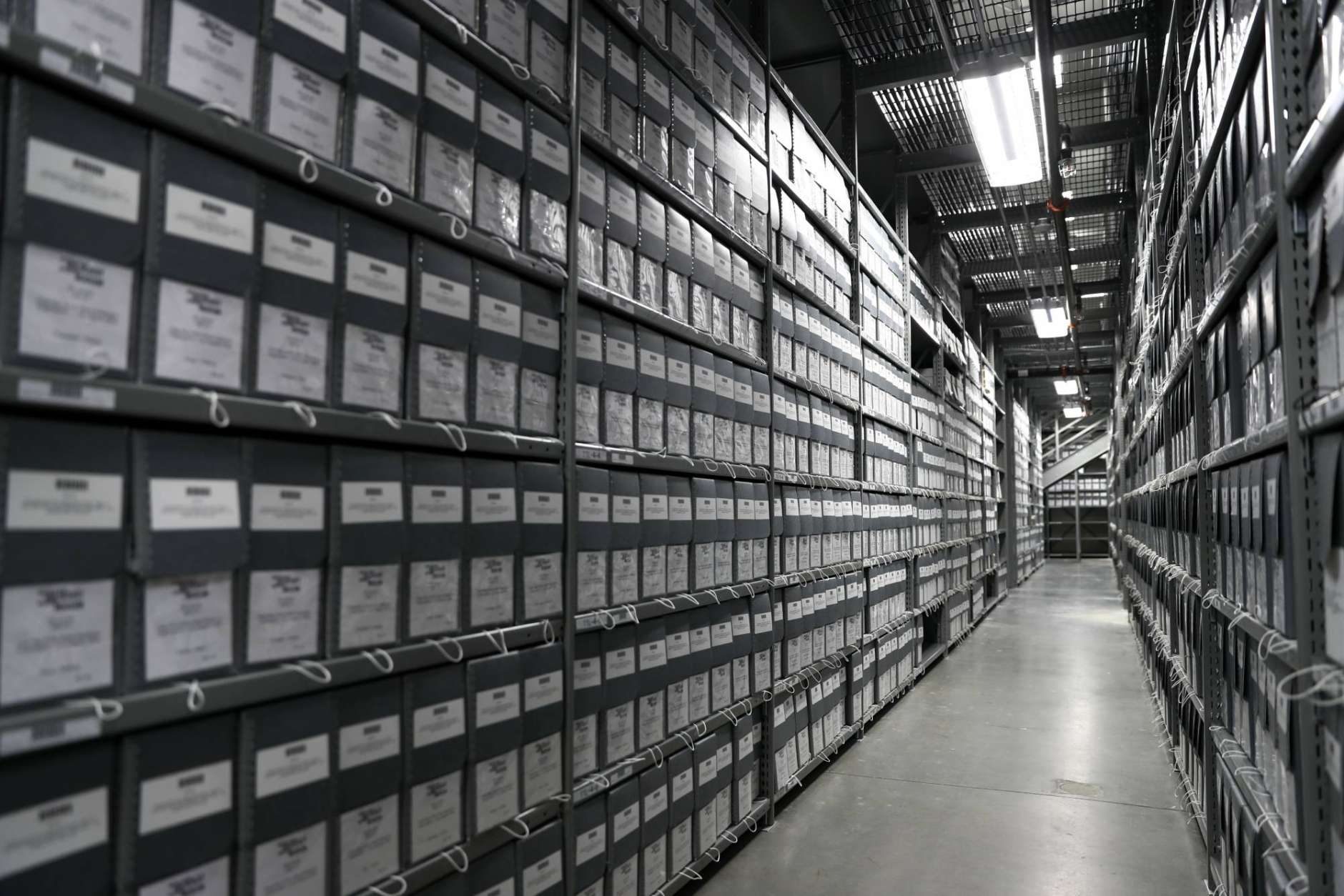 Boxes fill the shelves in the Documents Vault at the U.S. Holocaust Memorial Museum's David and Fela Shapell Family Collections, Conservation and Research Center in Bowie, Md., Monday, April 24, 2017. The Shapell Center is a new state-of-the-art facility that will house the collection of record of the Holocaust. (AP Photo/Carolyn Kaster)
