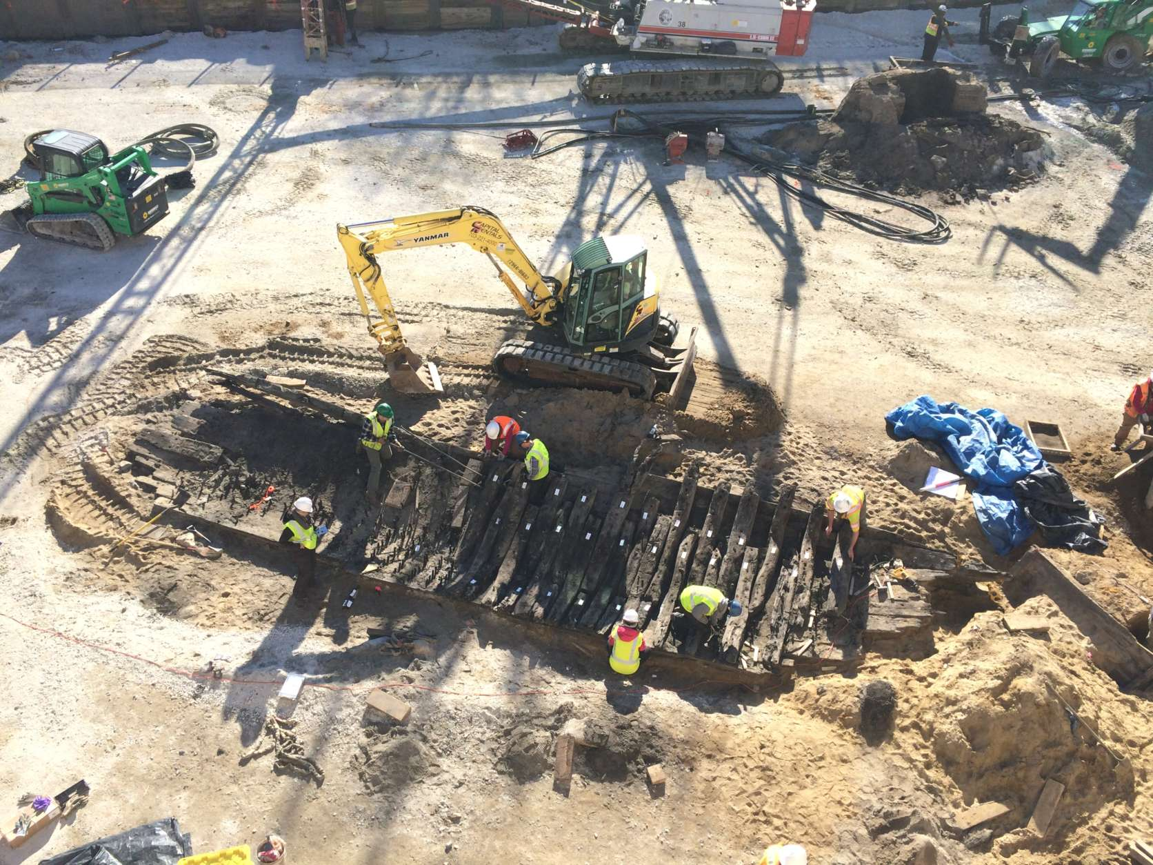 Archaeologists have  unearthed a 50-foot ship discovered along the Alexandria waterfront. (Alexandria Archaeology)