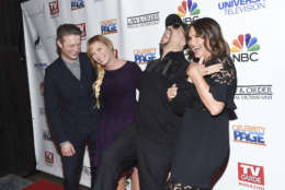 "Actors, from left, Peter Scanavino, Kelli Giddish, Ice-T and Mariska Hargitay pose together at TV Guide Magazine's ""Law & Order: Special Victims Unit"" 400th episode celebration at the Gansevoort Park Avenue on Wednesday, Jan. 11, 2017, in New York. (Photo by Evan Agostini/Invision/AP)"