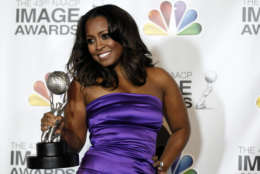 "Keshia Knight Pulliam poses backstage with the award for outstanding supporting actress in a comedy series for ""Tyler Perry's House of Payne"" at the 43rd NAACP Image Awards on Friday, Feb. 17, 2012, in Los Angeles. (AP Photo/Matt Sayles)"