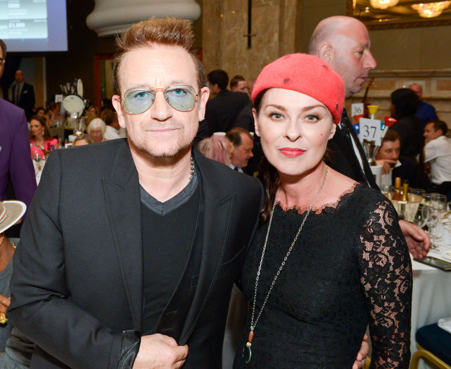 Bono and Lisa Stansfield attend the Nordoff Robbins O2 Silver Clef Awards 2014 at  the Hilton Hotel in London on Friday,  July  4, 2014. (Photo by Jon Furniss/Invision/AP)