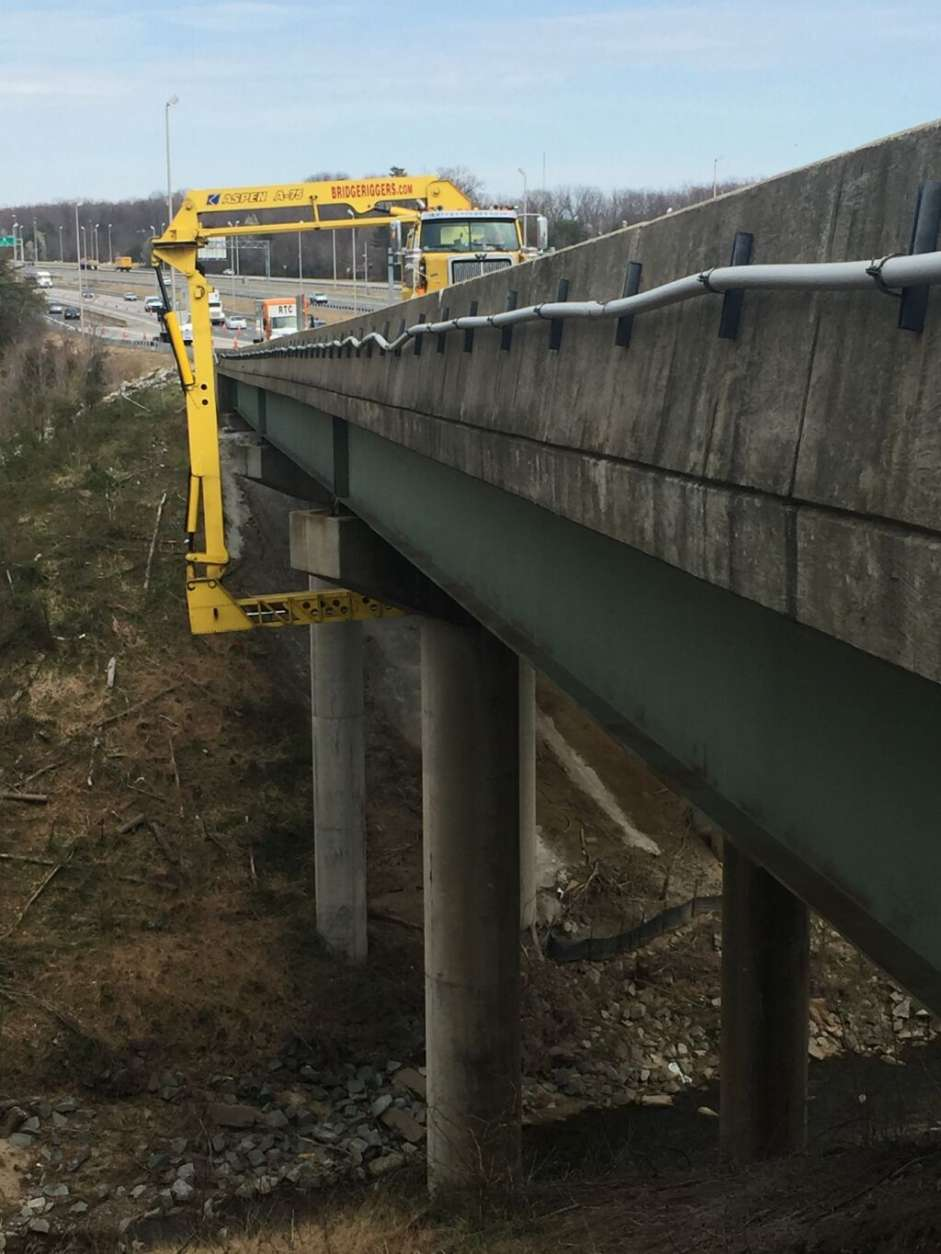 """This section of deck is failing -- it's falling apart; it's deteriorating. It's been a problem for us for the past six to seven months,"" said bridge engineer Brian Morrison. (Courtesy VDOT)"