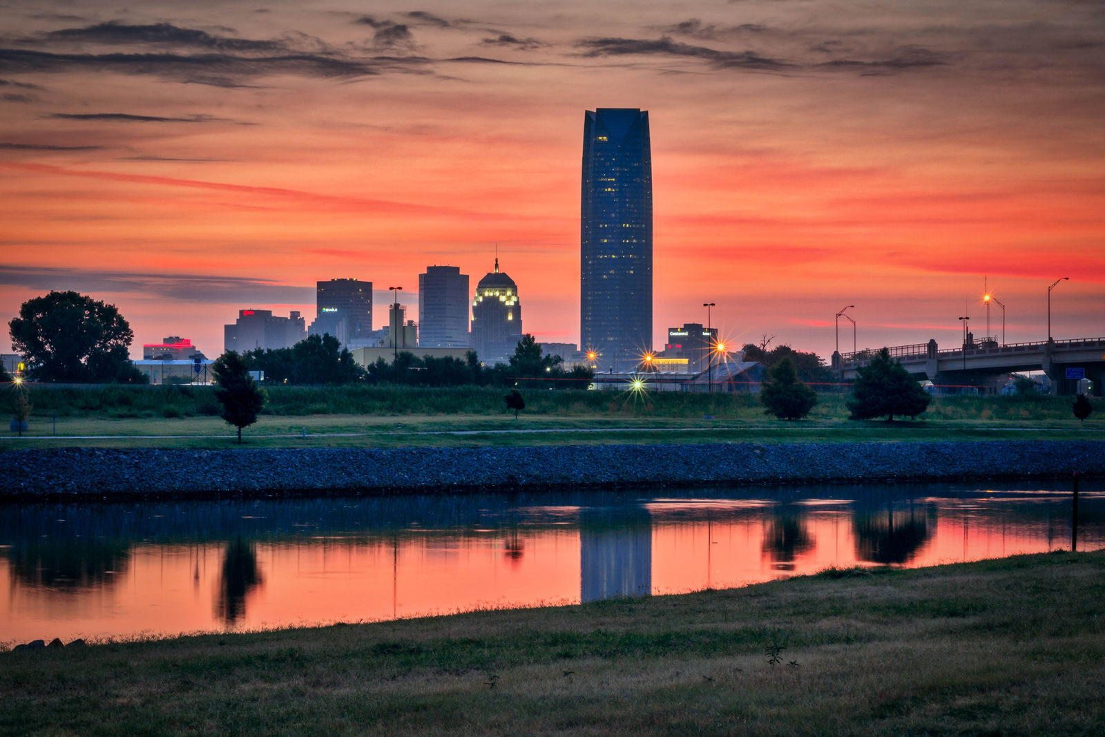 Sunrise overlooking downtown Oklahoma City. (Getty Images/iStockphoto/Ron_Lane)