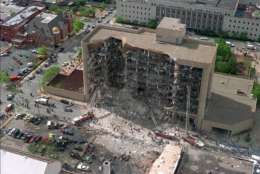FILE - In this April 19, 1995, file photo, shows the north side of the Alfred P. Murrah Federal Building in Oklahoma City after an explosion that killed 168 people and injured hundreds. Survivors and family members of those killed in the bombing will gather for a remembrance service Wednesday, April 19, 2017, the 22nd anniversary of the attack. (AP Photo/File)