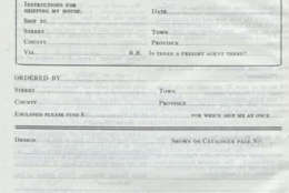 A screen shot of a kit house order form in the 1920 Aladdin Homes catalog, as archived by the University of Maryland. (WTOP Screen Shot)
