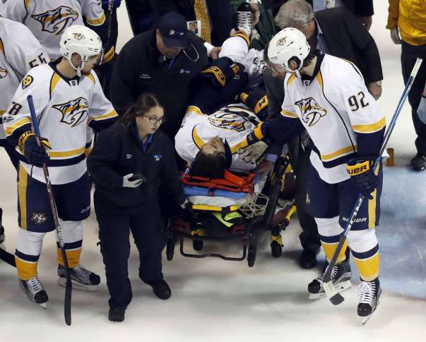 Predators' Fiala out of playoffs after breaking leg