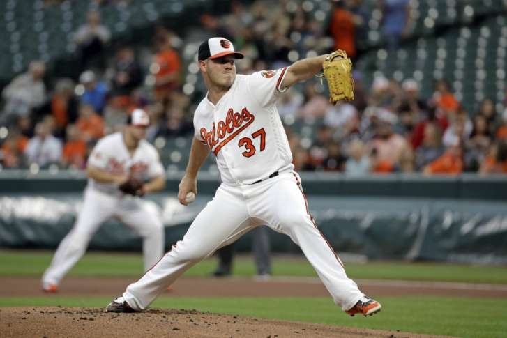 Baltimore Orioles starting pitcher Dylan Bundy throws to the Tampa Bay Rays  in the first inning of a baseball game in Baltimore, Wednesday, April 26,  2017.