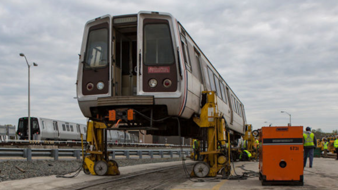 The 80,000-pound car was transported to a warehouse in Brockville, Maryland, where it is currently being deconstructed. (Photo courtesy Fivesquares Development)