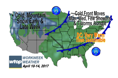 Workweek weather: Warm, dry start before chance of showers