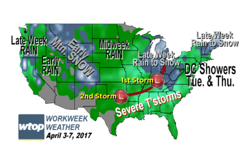 Workweek weather: Weather plays ball Monday, but more chances later in week