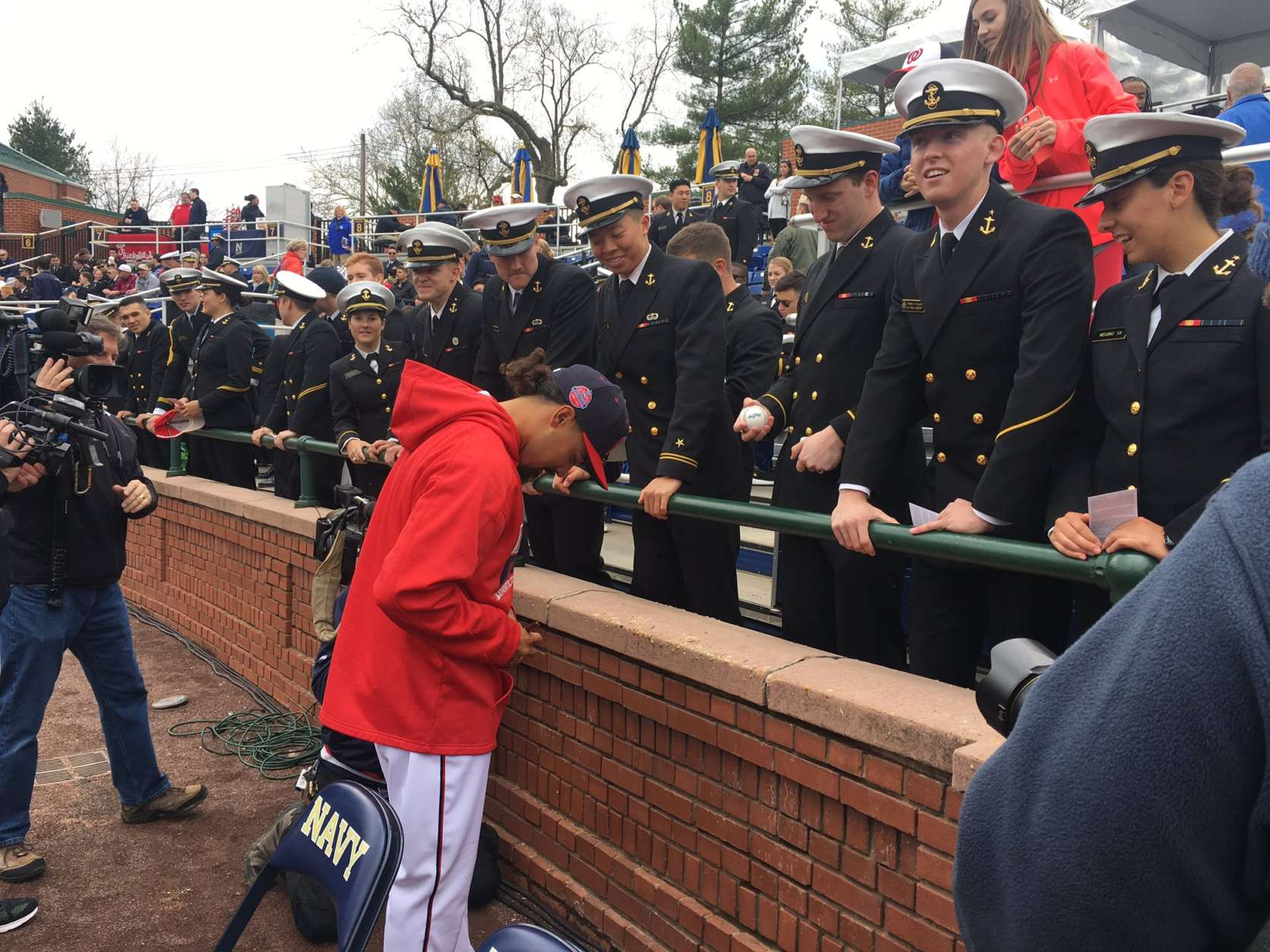 Anthony Rendon signs autographs for fans at the Naval Academy. (WTOP/George Wallace)