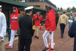 Dusty Baker visits the Nationals dugout at the Naval Academy. (WTOP/George Wallace)