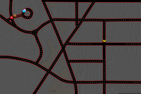 Ms. Pac-Man takes over Google Maps