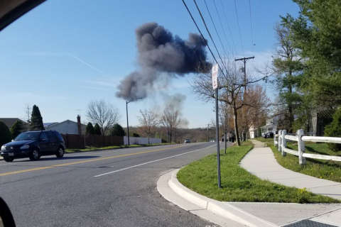Fighter jet crashes, narrowly misses homes in Pr. George's Co.