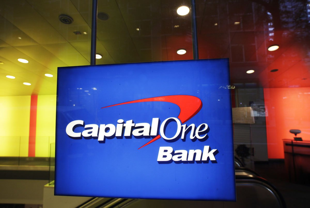 This Friday, May 11, 2012, file photo, shows a Capital One Bank office, in New York. Capital One Financial Corporation reports financial results Tuesday, Jan. 24, 2017. (AP Photo/Mark Lennihan, File)