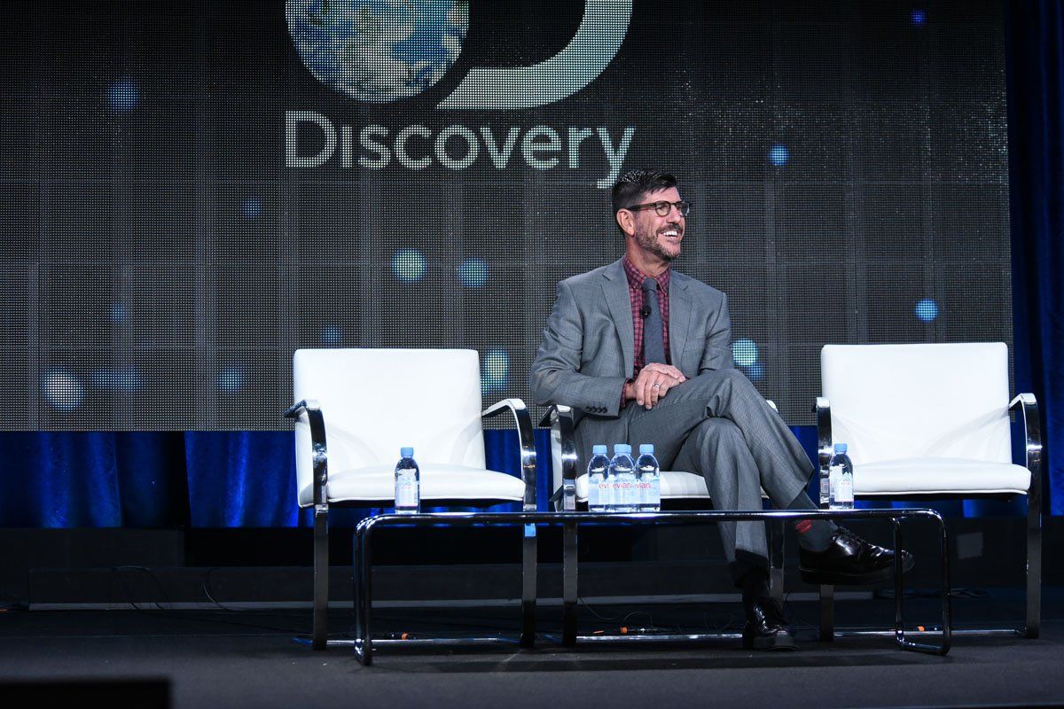 Rich Ross speaks on stage at Discovery Communications 2015 Winter TCA on Thursday, Jan. 8, 2015, in Pasadena, Calif. (Photo by Richard Shotwell/Invision/AP)