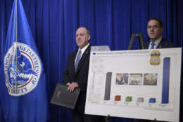U.S. Immigration and Customs Enforcement acting Director Thomas Homan, left, and Homeland Security Investigations deputy executive associate director Derek Benner, right, arrive to speak at a news conference in Washington, Thursday, May 11, 2017, to announce the results of a national operation targeting gang members and associates. (AP Photo/Susan Walsh)