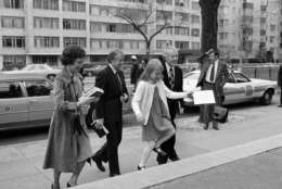 Amy Carter skips up the steps of First Baptist Church in D.C. with President Jimmy Carter and firsty lady Rosalynn Carter in March 1977. Amy famously attended public schools in D.C. during her father's term as president, including the historic African American elementary school Stevens Elementary. (AP photo)