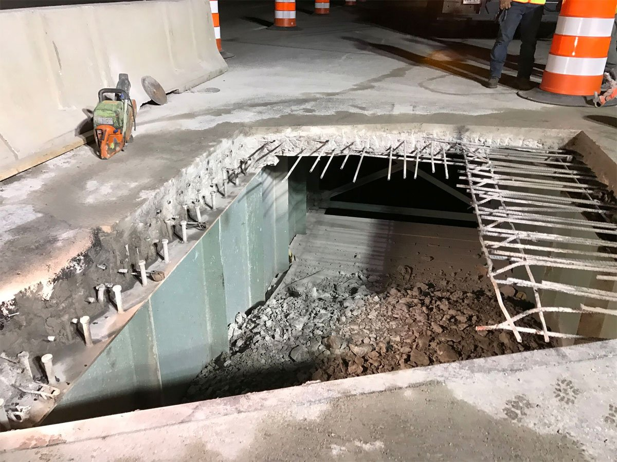 Crews working on the first round of repairs to the Neabsco Bridge. (Courtesy VDOT)