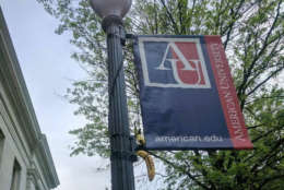 On Monday, May 1, 2017, three displays were found on the American University campus of bananas hanging from strings in the shape of nooses. (Courtesy Quinn Dunlea)