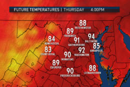 These images are from the RPM computer model, showing the potential high temperatures (give or take a few) in the afternoons and the morning low temperatures. (Data: The Weather Company; Graphics: Storm Team 4)