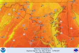 The official forecast numbers from the National Weather Service show the seasonably warm high temperatures on the way for the week ahead. The warmest days are likely to be Monday and Friday. (National Weather Service/NOAA)