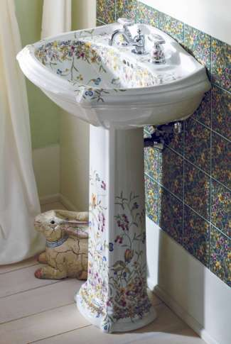 Homes_Right_Pedestal_Sinks_33087 This Photo Provided By Kohler Shows One Of  Their Prairie Flowers And English Trellis Pedestal Sinks, Which Bring The  Garden ...