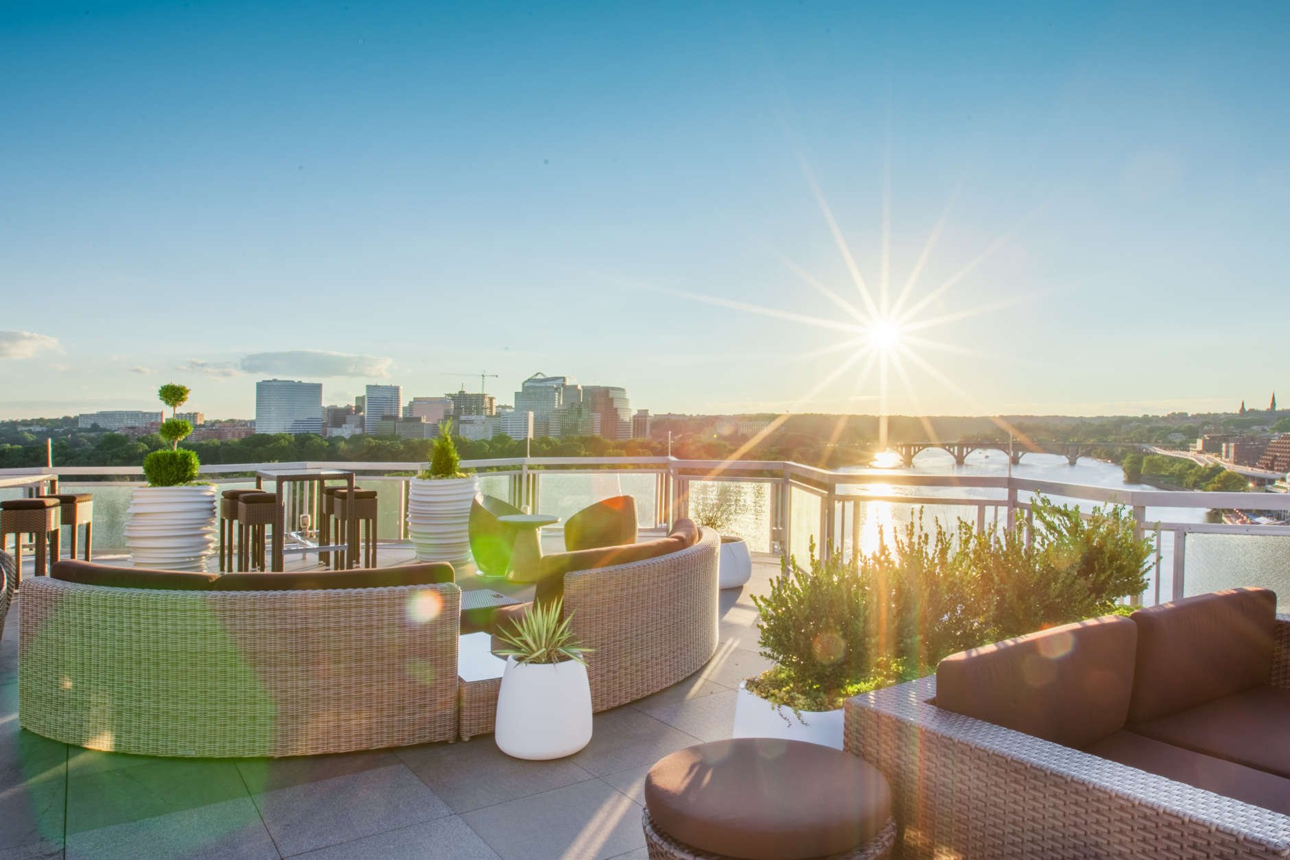 The rooftop bar at The Watergate Hotel is undoubtably one of the nicest places to enjoy the weather — and libations — in the D.C. area. (Courtesy David Preta)