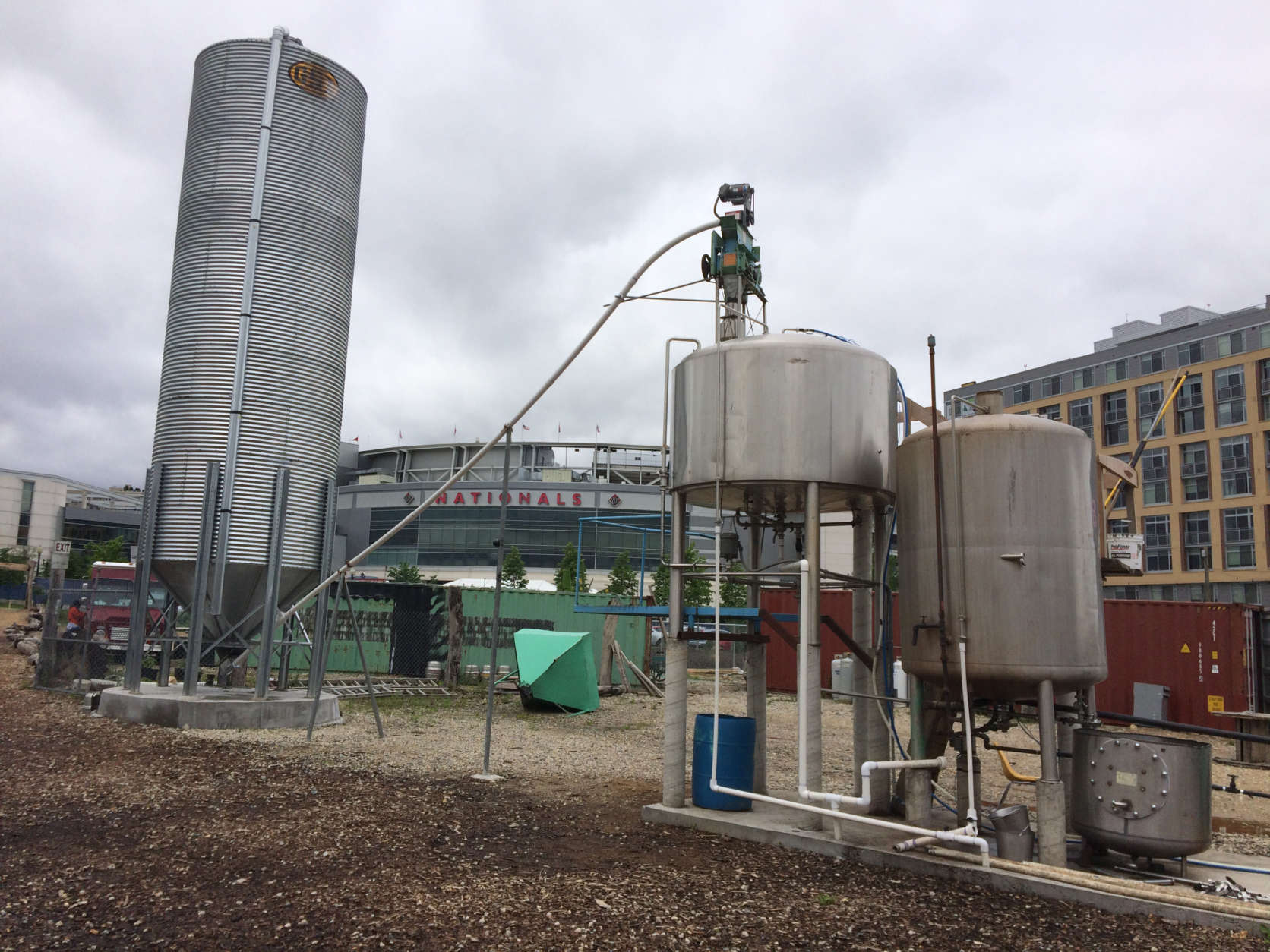 Bardo Brewery's grain silo and stainless steel fermenters. (WTOP/Dick Uliano)