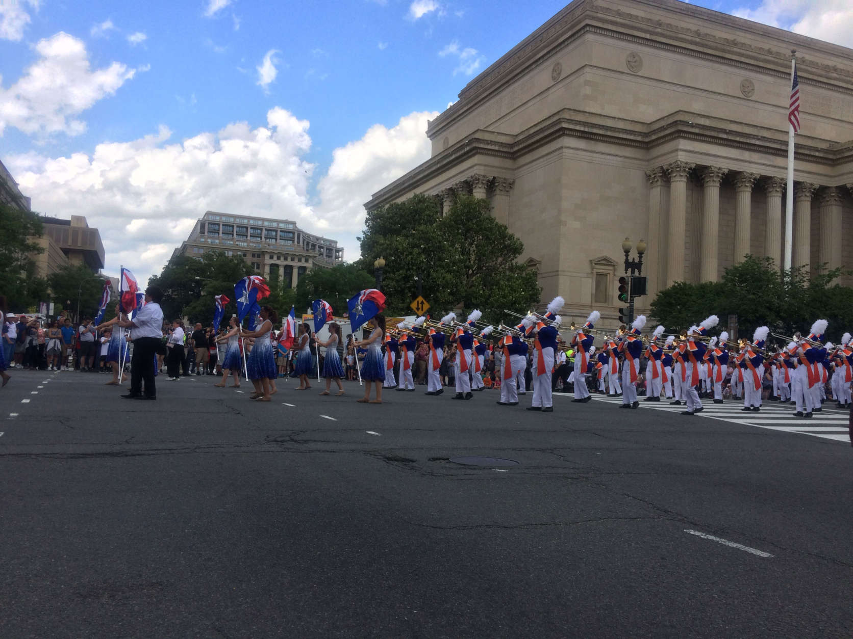 The National Memorial Day Parade heads down Constitution Avenue, in D.C., Monday. (WTOP/Dick Uliano)
