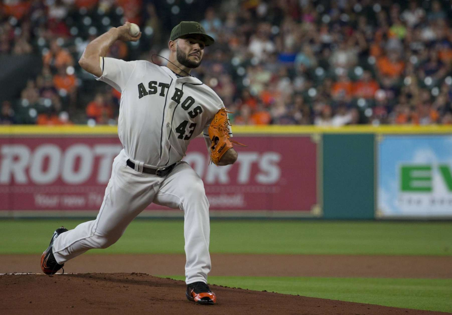 Houston Astros' pitcher Lance McCullers Jr. delivers a pitch against the Baltimore Orioles in the first inning of a baseball game Sunday, May 28, 2017 in Houston. (AP Photo/Richard Carson)