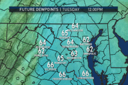 These graphics from the RPM computer model show these fluctuations between Monday and early Wednesday, the end time of the output. Longer range models have dew points in the low 50s for the end of the week. (Data: The Weather Company | Graphics: Storm Team 4)