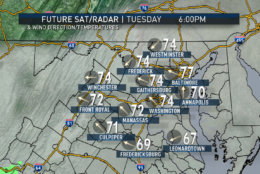 The RPM computer model run with Sunday afternoon's data shows the possible timing for the first two systems in our area. Showers are already here for the Monday morning commute, then become scattered thunderstorms Monday afternoon, before ending totally Monday evening as a cold front traverses the area. Then the next batch starts coming in for Tuesday night and Wednesday morning. (Data: The Weather Company. Graphics: Storm Team 4)