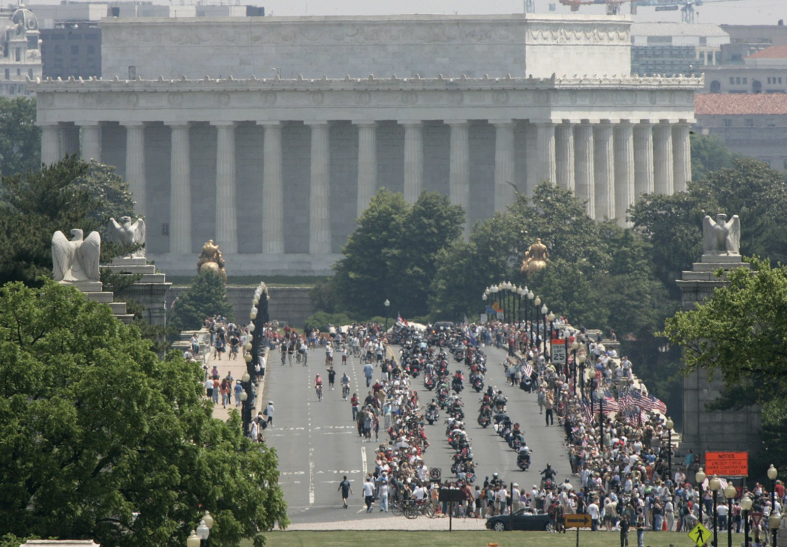 The annual Rolling Thunder demonstration will take place from Friday through Monday, with several activities scheduled around the D.C. and Arlington. The demonstration run itself —as illustrated in this 2006 file photo — is set for noon on Sunday and will affect traffic. (AP Photo/Lawrence Jackson, file)