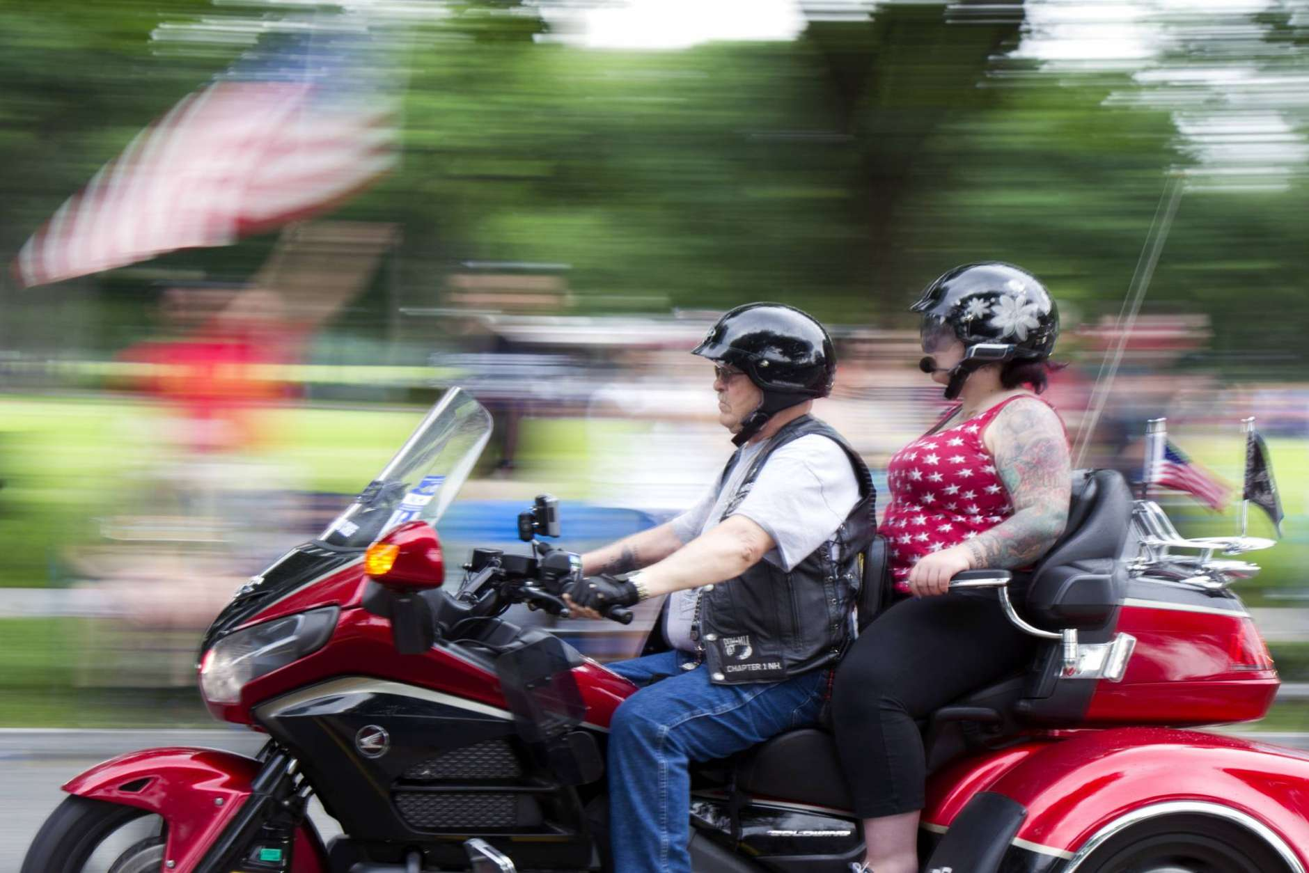 Motorcyclists participate in the 30th anniversary of the Rolling Thunder 'Ride for Freedom' demonstration in Washington, Sunday, May 28, 2017. Rolling Thunder seeks to bring full accountability for all U.S. prisoners of war and missing in action (POW/MIA) soldiers. (AP Photo/Cliff Owen)