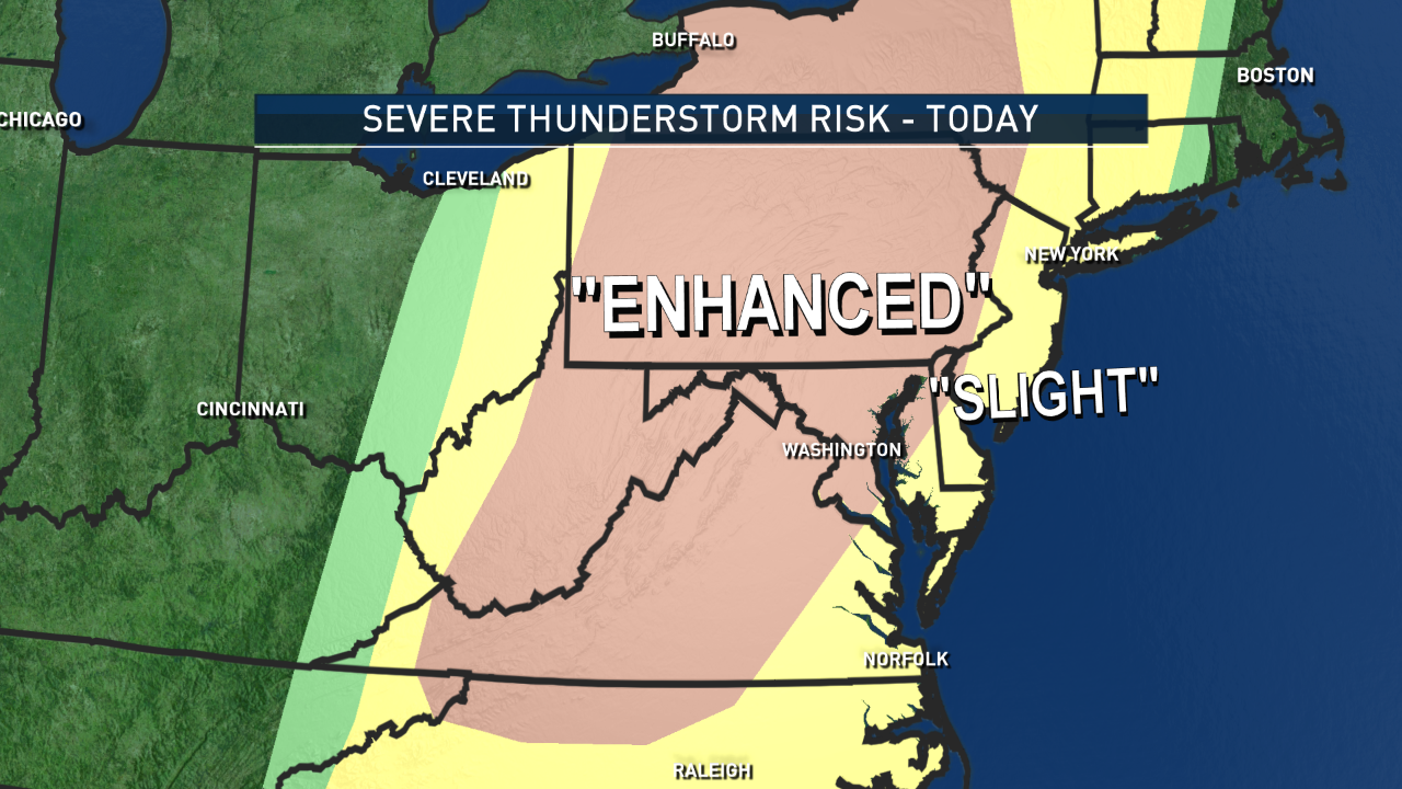 """The Storm Prediction Center has us in the area of """"Enhanced Risk"""" region, which is kind of the middle ground of chances of severe weather happening at all. And within that chance is a higher risk of the scope of the severity of the storms. It means formal watches and warnings could be issued later in the day.  (Data: The Weather Company. Graphics: Storm Team 4)"""