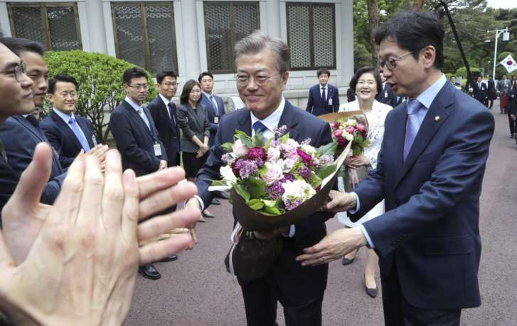 South Korea's Moon sworn in, vows to address North Korea