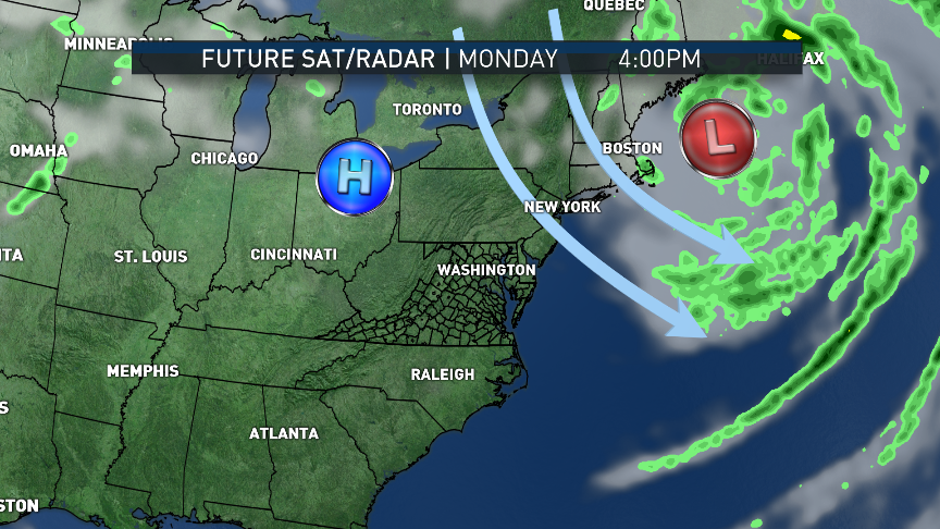These maps show the future satellite and radar from the RPM computer model from Monday until early Wednesday morning. The northwest flow and strong breezes from Sunday will be replaced by southwesterly winds as the new weather pattern emerges. The center of high pressure will build almost directly over us through Tuesday, then it will head out to sea and become the Bermuda High. A diffuse warm front will pass by on Tuesday with a few hours of clouds and maybe a sprinkle in the mountains. Then the heat will be on! (WTOP/Storm Team 4)