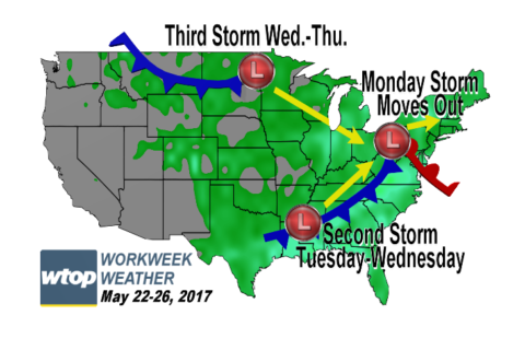Workweek weather: Some muggy, wet weather for this week