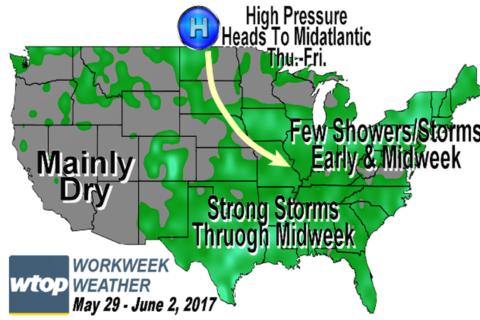 Workweek weather: Area dries up for Memorial Day; week warms up