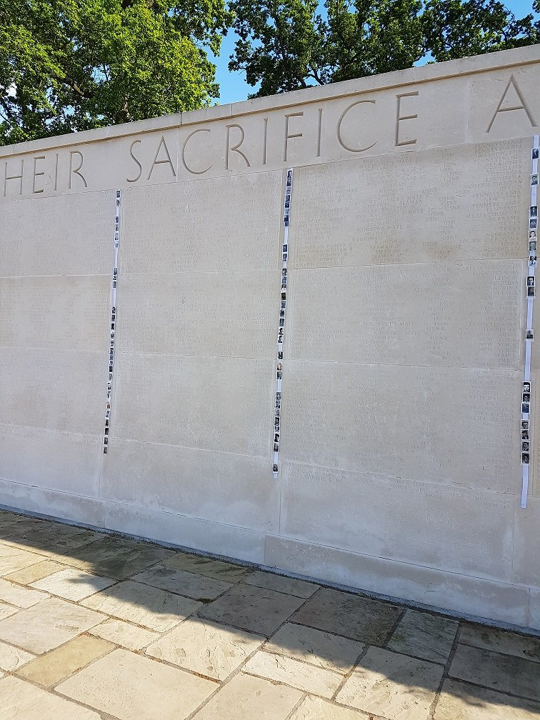 The Walls of the Missing at Cambridge honors Americans missing in action, or were lost or buried at sea during World War II. (Courtesy American Battle Monuments Commission)