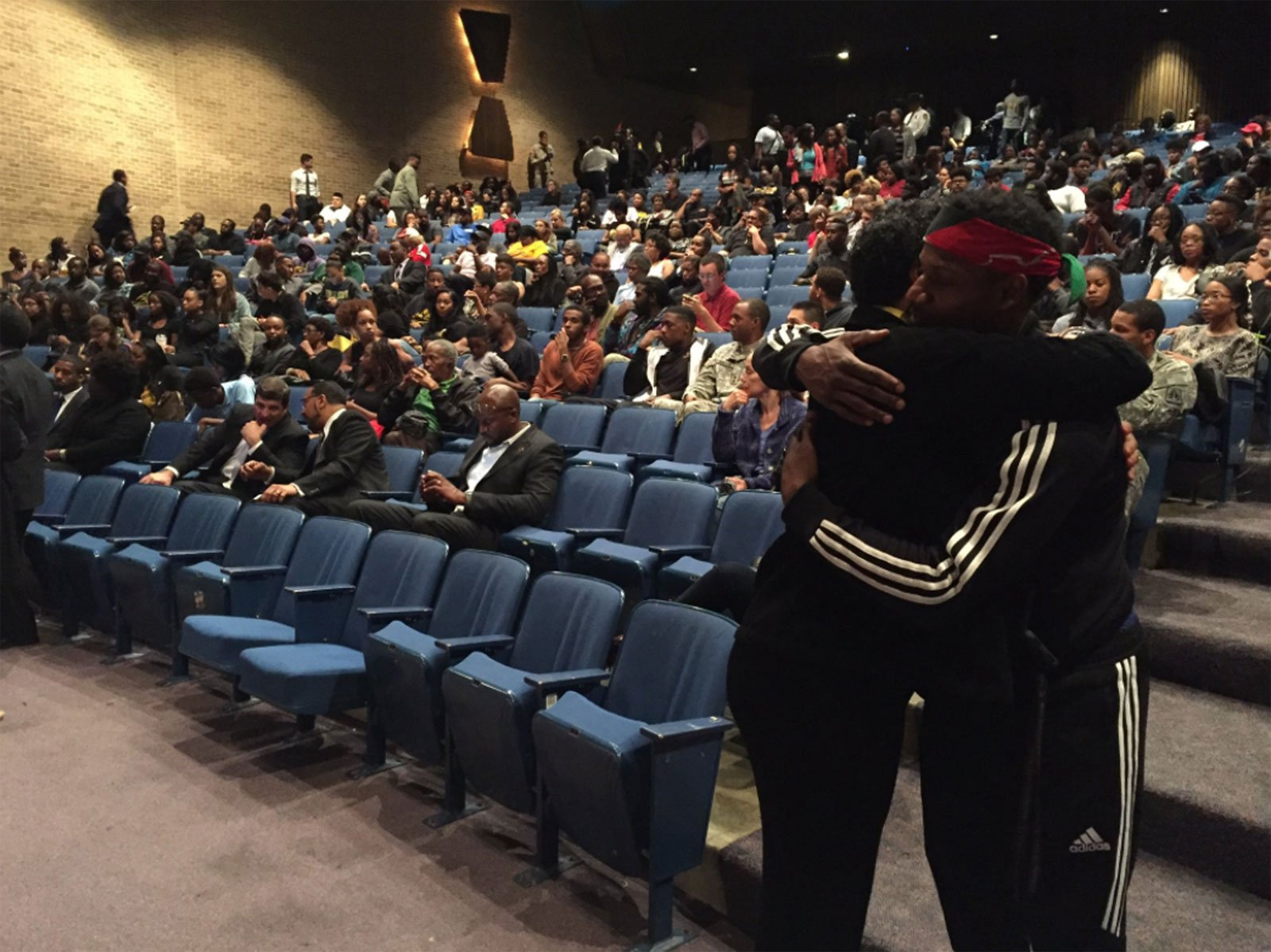 At the Monday night vigil for Richard Collins III, who was just about to graduate from Bowie State University. (WTOP/Michelle Basch)