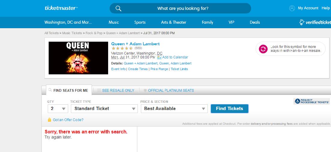 Screenshot of Ticketmaster website.
