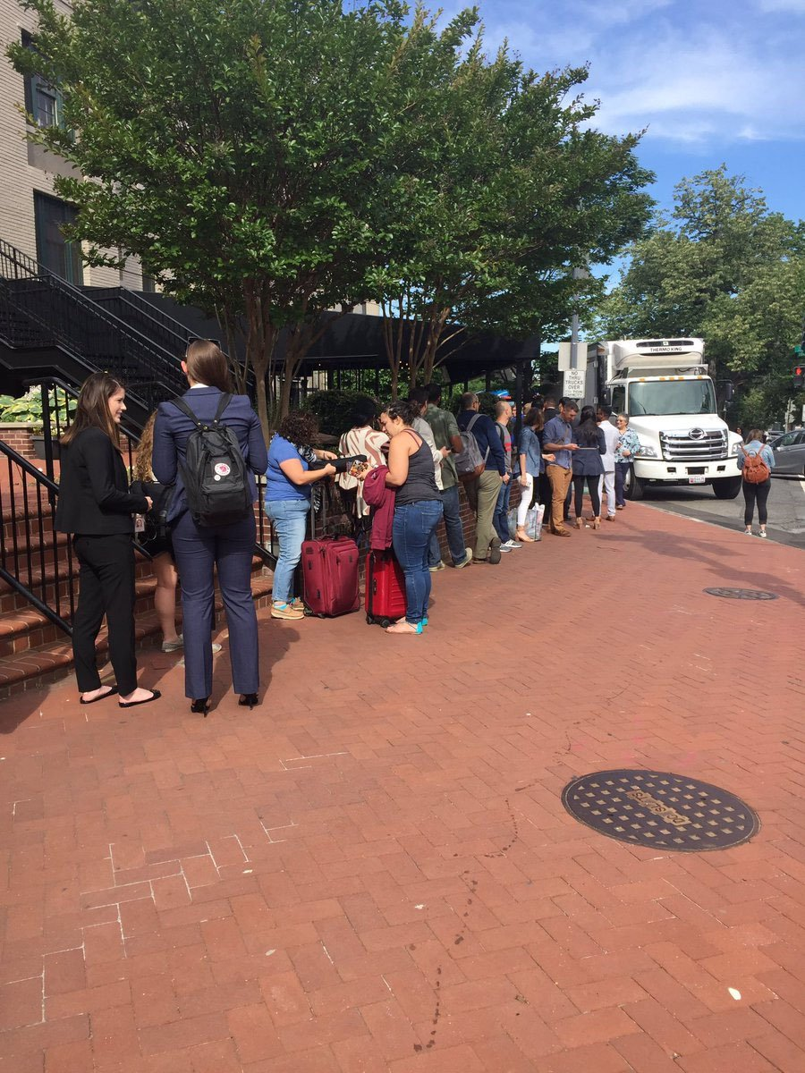 A line around the corner Thursday morning waiting to get in for the ultimate D.C. event: Former FBI Director James Comey's Senate testimony. (WTOP/Anna Isaacs)