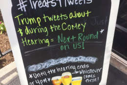 A sign outside Union Pub on Capitol Hill on Thursday morning. (WTOP/Anna Isaacs)