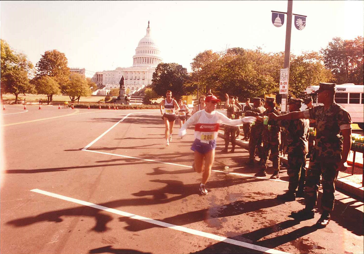 Marines pass out water at a water point on the National Mall in 2005. (Courtesy Marine Corps Marathon)