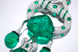 """A 1928 Cartier emerald and diamond brooch from """"Spectacular Gems and Jewelry from the Merriweather Post Collection."""" (Photo by Square Moose Inc., courtesy Hillwood Estate, Museum & Gardens)"""